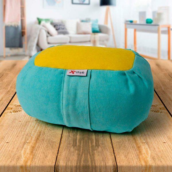 Zafu pequeño Wagon Nature portable niños color cielo mostaza