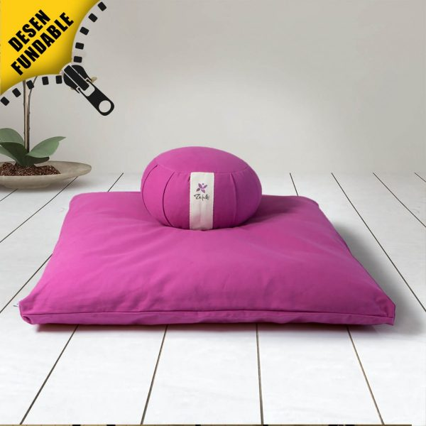 Conjunto de meditación zafu redondo + base para cojín púrpura