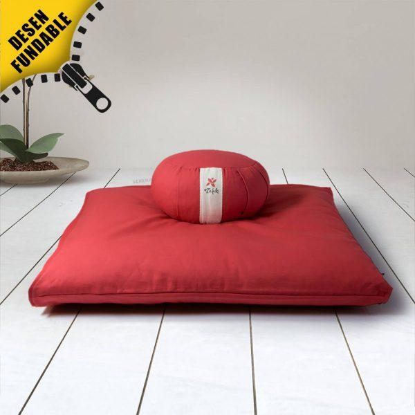 Conjunto de meditacion zafu redondo + base para cojín rojo