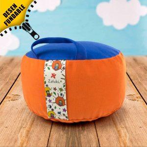 zafu cojín infantil desenfundable de meditación de color naranja y azul