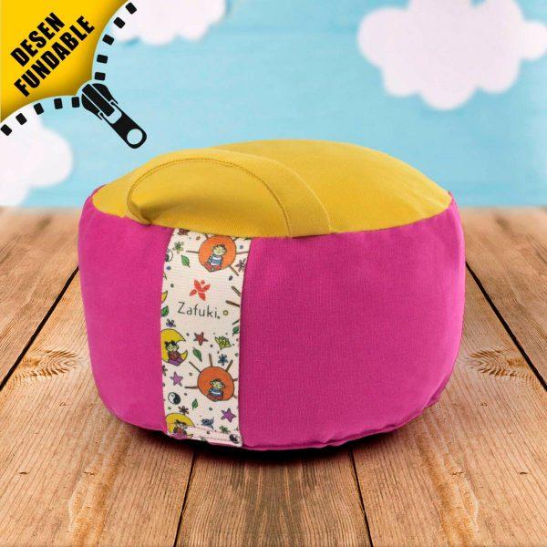 zafu cojín infantil para meditar de color purpura amarillo