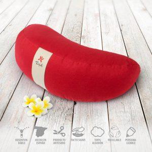 Práctico cojín zafu desenfundable en forma de media luna rojo para meditar