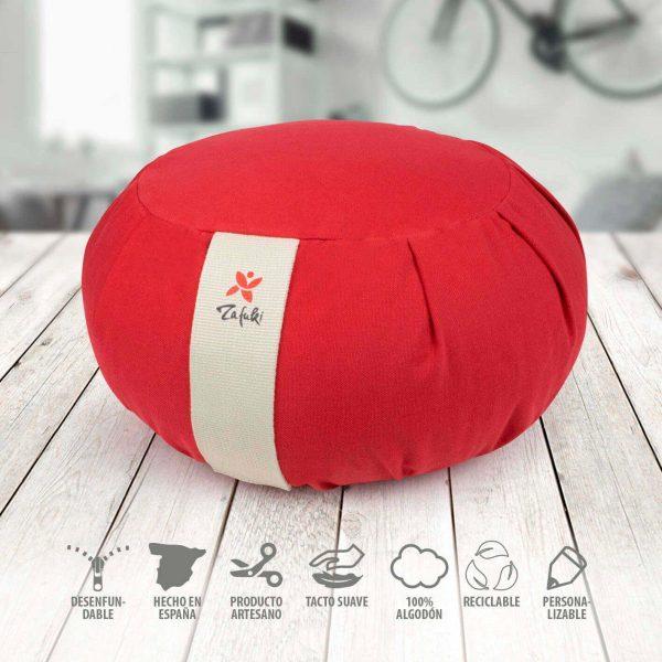 Zafu redondo desenfundable rojo